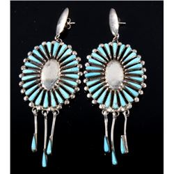 Navajo Sterling Silver & Turquoise Floral Earrings