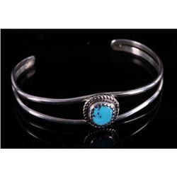 Navajo Signed Child Sterling & Turquoise Bracelet