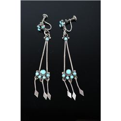 1930's Sterling Silver & Turquoise Earrings