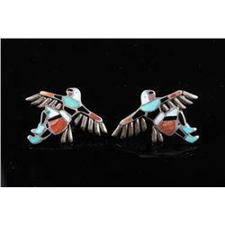 Multi Stone Eagle Dancer Clip-On Earrings