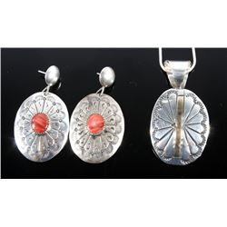 Sterling Silver and Gold Necklace & Coral Earrings