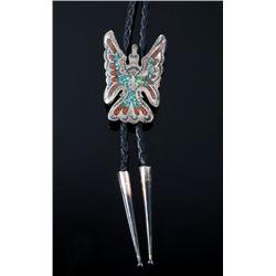 Navajo Water Bird Sterling & Chip Inlay Bolo Tie
