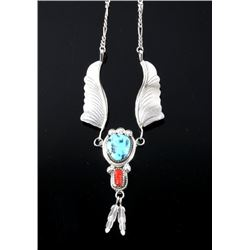 Navajo Sterling Silver Turquoise & Coral Necklace