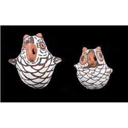Pair of Acoma Polychrome Pottery Owl Effigy Figure