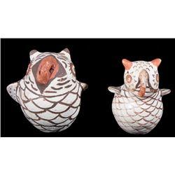 Pair of Zuni Polychrome Pottery Owl Effigy Figures
