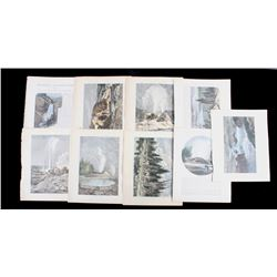 Set of 9 Hand-Colored Yellowstone Images c. 1890