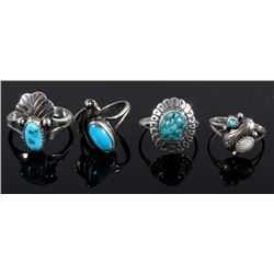 Collection of Turquoise and Sterling Silver Rings