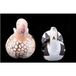 Pair of Acoma Polychrome Pottery Effigy Figures