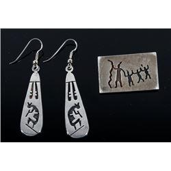Sterling Silver Kokopelli Earrings & Brooch