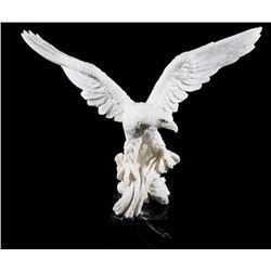 Eagle Landing Resin Signed Statue On Granite Base