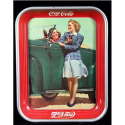 Coca-Cola Roadster Girl Tray circa 1942