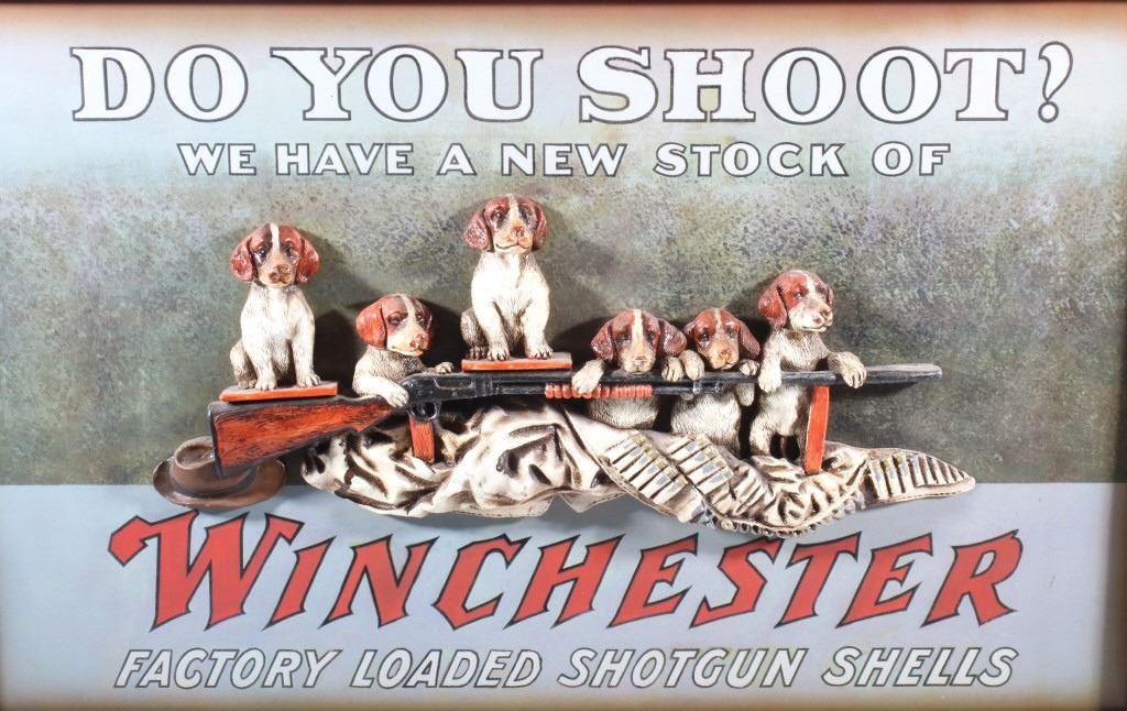 Winchester 3D Bird Dog Puppies Advertising Sign