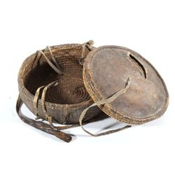 Ethiopian Reed and Leather Wrapped Basket c 1800's