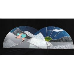 Stained Glass Style Winter Landscape Windows