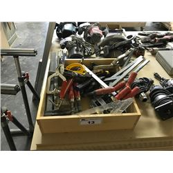 BOX OF ASSORTED WOOD CLAMPS AND HAND TOOLS