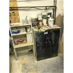 BLACK METAL 2 DOOR STORAGE CABINET WITH PAINT CONTENTS