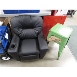 PAIR OF GREEN METAL STOOLS & BLACK KIDS RECLINER