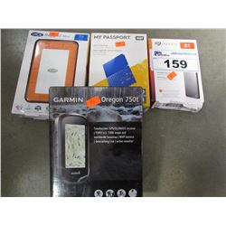 3 PORTABLE EXTERNAL HARD DRIVES & GARMIN GPS