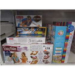 LOT OF ASSORTED KIDS TOYS: EASY-BAKE OVEN, TABLETOP EASEL , BEYBLADE BURST & MORE