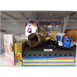 LOT OF ASSORTED KIDS TOYS: PLAY TILES, ROCK'EM SOCK'EM ROBOTS, BABY BORN, THANOS GLOVE & MORE