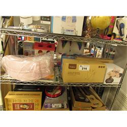 SHELF LOT OF ASSORTED HOUSEHOLD: BIDET, AROMA EZ, MASSAGER, TRAVEL BASSINET & MORE