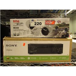 SONY STR-DH190 A/V RECEIVER, BOSS MC400 SPEAKER & AMP SYSTEM & MORE
