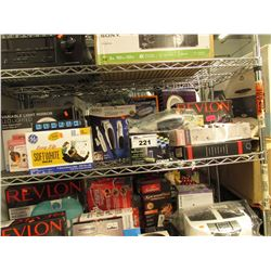 SHELF LOT OF ASSORTED BEAUTY PRODUCT: VANITY MIRROR, HAIR CURLERS/DRYERS, BIDET & MORE