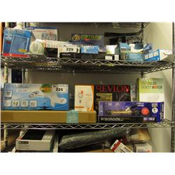 SHELF LOT OF ASSORTED BEAUTY PRODUCT: BIDET, CURLING IRON, VANITY MIRROR, STYLE BRUSH & MORE