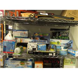 SHELF LOT OF ASSORTED AQUARIUM PRODUCT: HEATERS, PUMPS, MISTERS, FILTERS & MORE