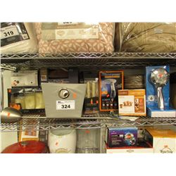 BASKET, SHOWER HEAD, EXTREME STEAM MACHINE, TOILET PAPER HANGER, MEMORY FOAM SLIPPERS, LED CANDLES,