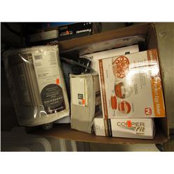 BOX OF ASSORTED HOUSEHOLD & KITCHEN ITEMS