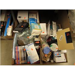 2 BOXES OF ASSORTED HOUSEHOLD ITEMS & ELECTRONICS