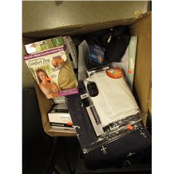 BOX OF ASSORTED HOUSEHOLD ITEMS & LINEN