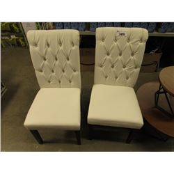 2 MATCHING WHITE BUTTON BACK CHAIRS