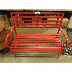 RED OUTDOOR METAL BENCH