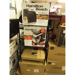 BLACK RACKING, HAMILTON BEACH BREAD MAKER, HAMILTON BEACH STAND MIXER & BOXES OF SHELVING
