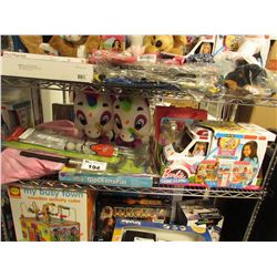 SHELF LOT OF ASSORTED KIDS TOYS