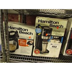 HAMILTON BEACH POWER DELUXE MIXER & HAMILTON BEACH GRIND AND BREW STATION