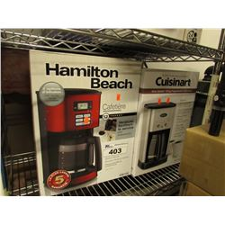 HAMILTON BEACH COFFEE MACHINE & CUISINART COFFEE MACHINE