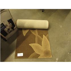 2.3 X 8' BROWN & BEIGE WOOL AREA RUG