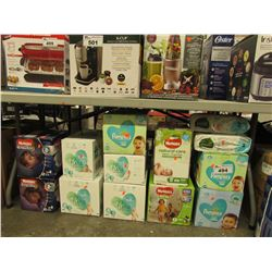 LARGE LOT OF ASSORTED DIAPERS & WIPES