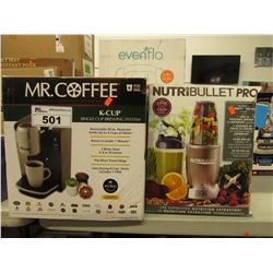 MR COFFEE K-CUP SINGLE CUP BREWING SYSTEM & NUTRIBULLET PRO