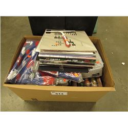 BOX OF ASSORTED RECORDS & LINEN