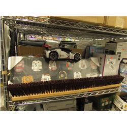 SHOE RACK, BOBBY ORR PLAQUE, PUSH BROOM REPLACEMENT HEAD, SCISSORS, TOY CAR, 1500W ELECTRIC