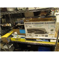 LARGE RV COVER, ASSORTED WINDSHIELD WIPER & AUTOMOTIVE PARTS