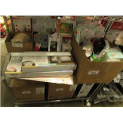 BOX OF ASSORTED BABY PRODUCTS, CRIB RAILS, DISPOSABLE WOOD PLATES, ETC