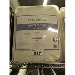 REAL SIMPLE WHITE DOWN TWIN SIZE COMFORTER