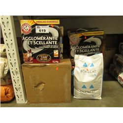 LARGE LOT OF ASSORTED CAT LITTER