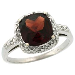 Natural 3.92 ctw Garnet & Diamond Engagement Ring 10K White Gold - REF-28Y4X