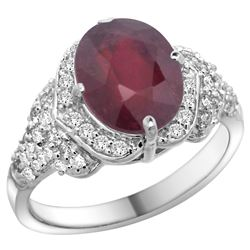 Natural 4.16 ctw ruby & Diamond Engagement Ring 14K White Gold - REF-107A3V